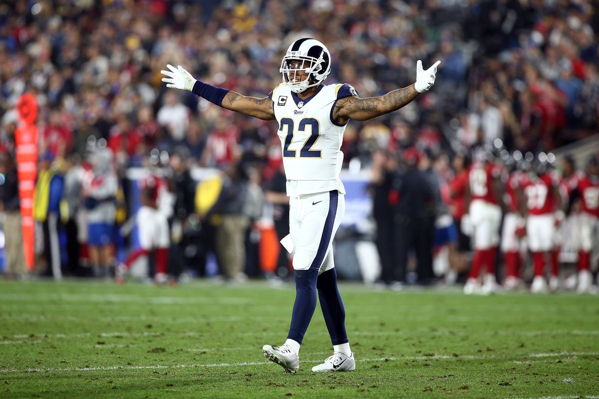 Trumaine Johnson with his arms spread out on either side