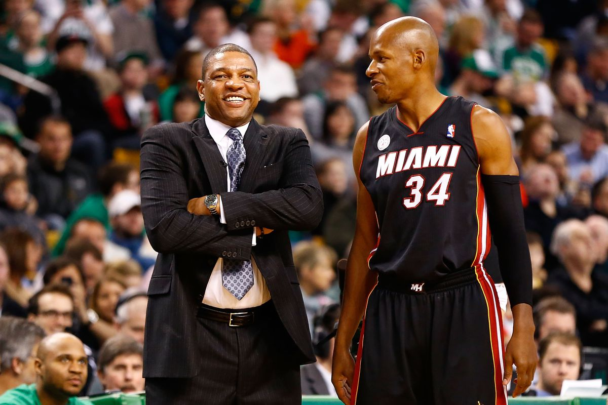 Boston Celtics Head Coach Doc Rivers (Left) used Ray Allen in a different manner than the Heat do.