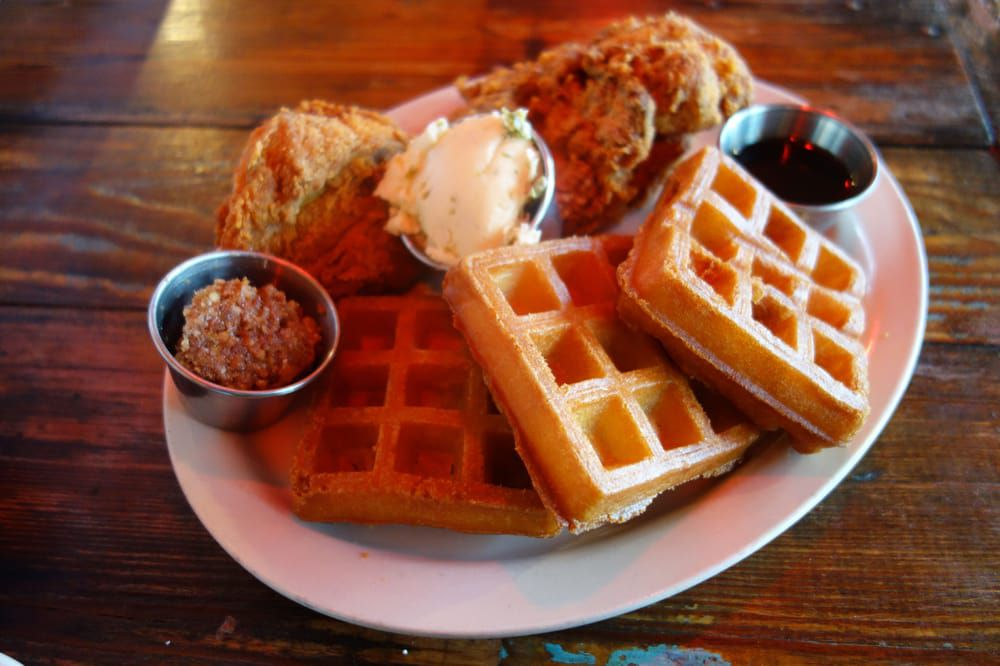 Chicken and waffles at Lucy's