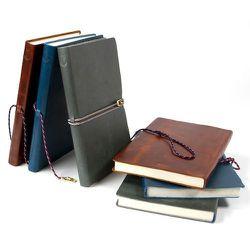 "<strong>Miansai</strong> Vintage Leather Journals, <a href=""http://www.miansai.com/shop/leather-goods/books "">$68</a>"