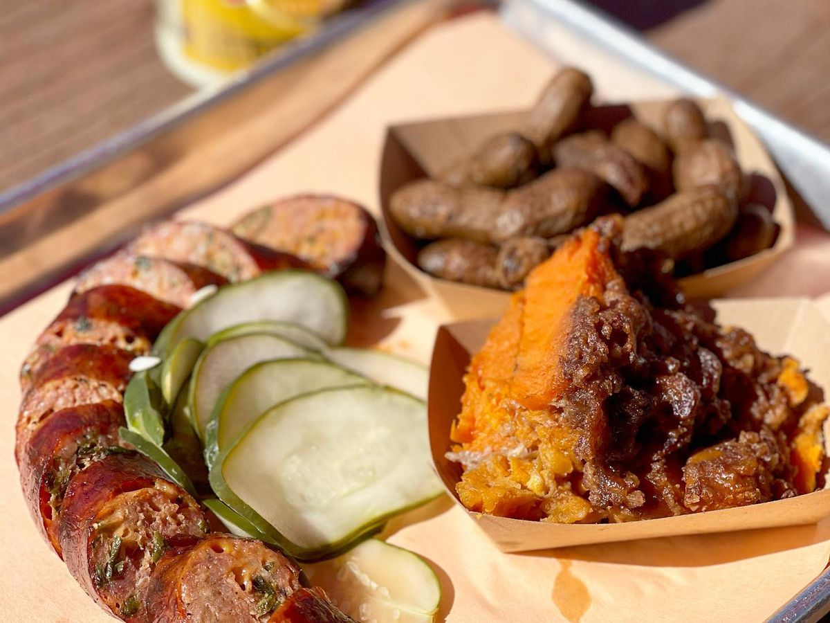 Jalapeno cheddar sausage and sweet potato casserole at Sweet Lew's