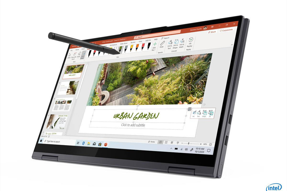 The Lenovo Yoga 7i 15 in tablet mode with a stylus.