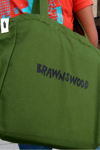 London's best restaurant merch includes this green Brawnswood tote bag from Brawn
