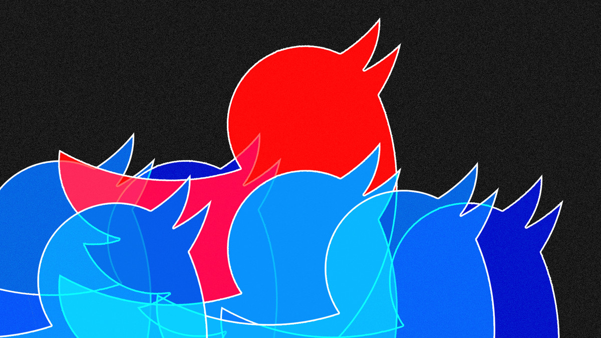 illustration of blue Twitter birds with one red Twitter bird rising above them