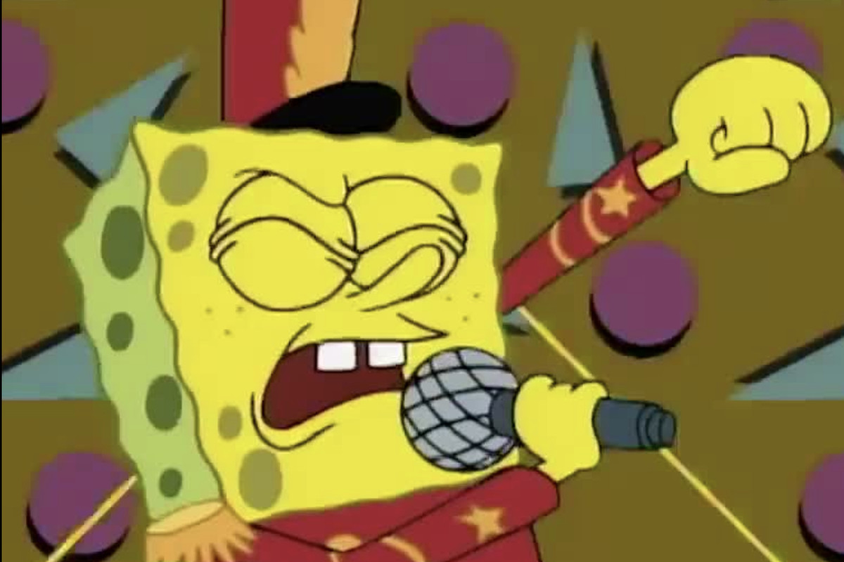 Spongebob as the bandleader in band geeks nickelodeon