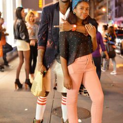 This is Berchell and Tan on Broadway. Everything Berchell is wearing is from thrift stores except his boots, which are Polo. Everything Tan is wearing is from thrift stores except her top, which is Rojas.