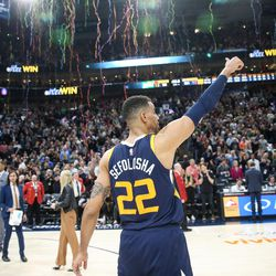 Utah Jazz forward Thabo Sefolosha (22) gives a thumbs-up after his team's 104-101 win over the Cleveland Cavaliers at Vivint Smart Home Arena in Salt Lake City on Saturday, Dec. 30, 2017.