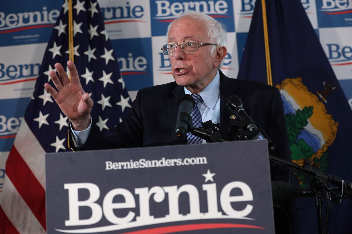 Democratic presidential candidate Sen. Bernie Sanders speaks to the media during a briefing at his campaign office Wednesday in Burlington, Vermont.