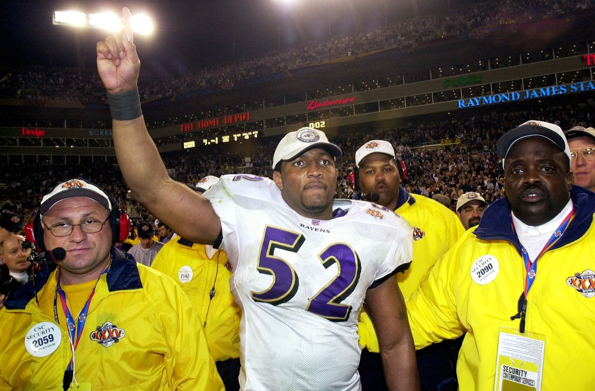 Baltimore Ravens' Ray Lewis, named the game's MVP, celebrate