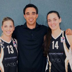 Jessica Schroll (right) poses with members of her current team, T71, based in Dudelange, Luxembourg. At left is her teammate Stefanie Yderstrom, and in the center is T71 coach Thierry Kremer.