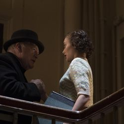 "Brian Cox as Winston Churchil, left, and Ella Purnell as Helen Garrett in ""Churchill."""