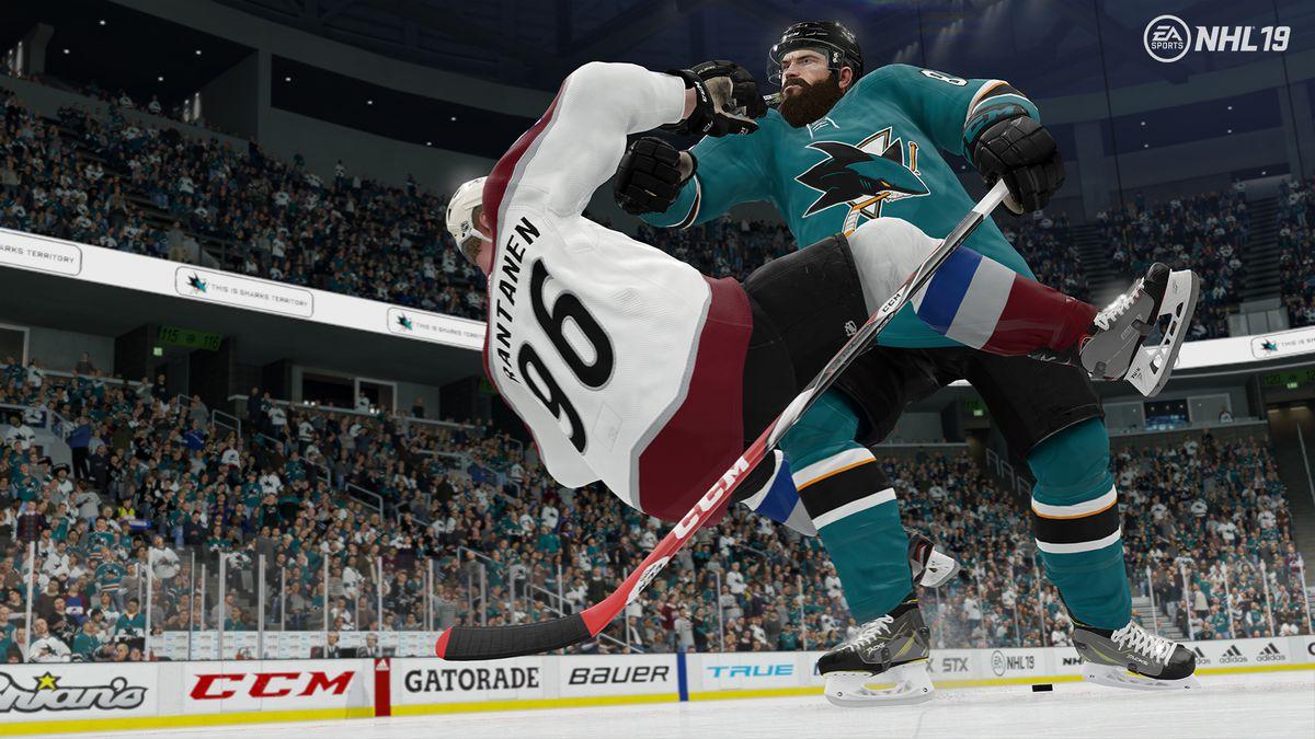 NHL 19 - Brent Burns checks Mikko Rantanen