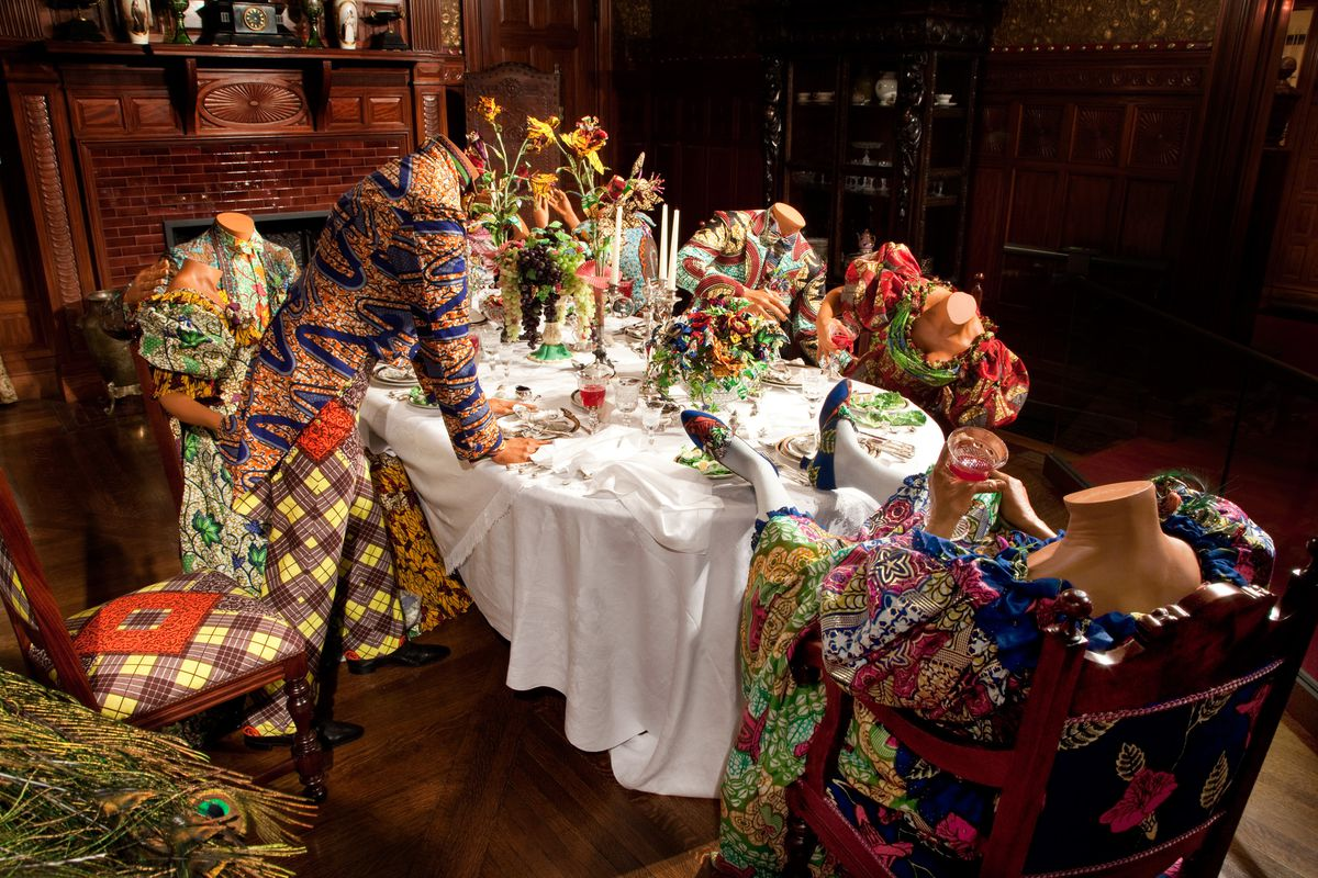 """Yinka Shonibare's """"Party Time,"""" part of an exhibit of the artist's work at the Driehaus Museum in Chicago."""