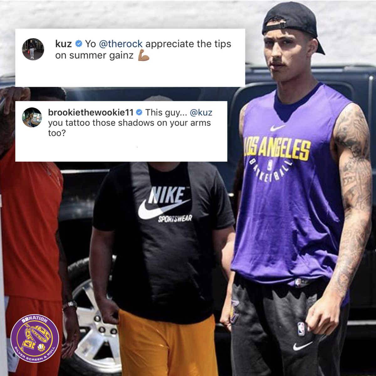 d0af66ede8e Lakers News  Kyle Kuzma thanks The Rock for helping him pack on ...