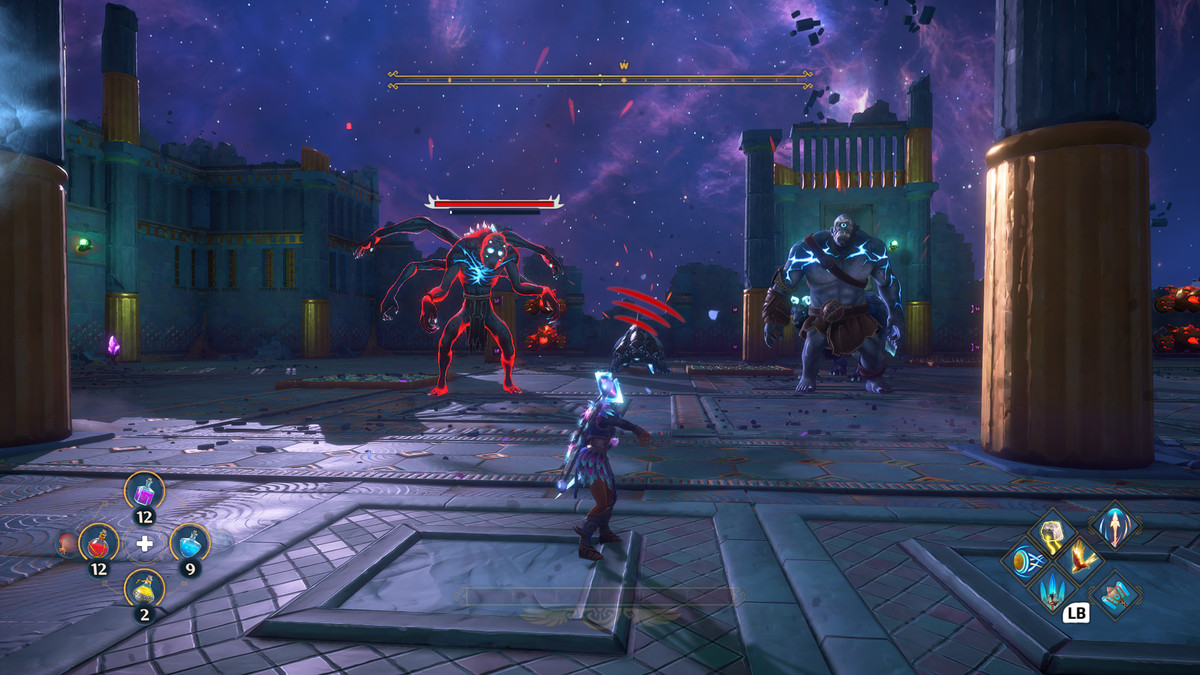 The main character of Immortals Fenyx Rising fights a group of monsters