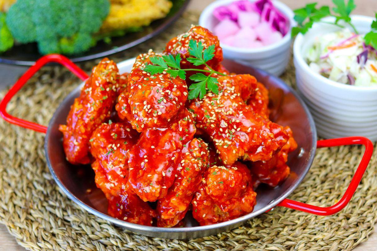Spicy Korean fried chicken at Vons in Torrance.