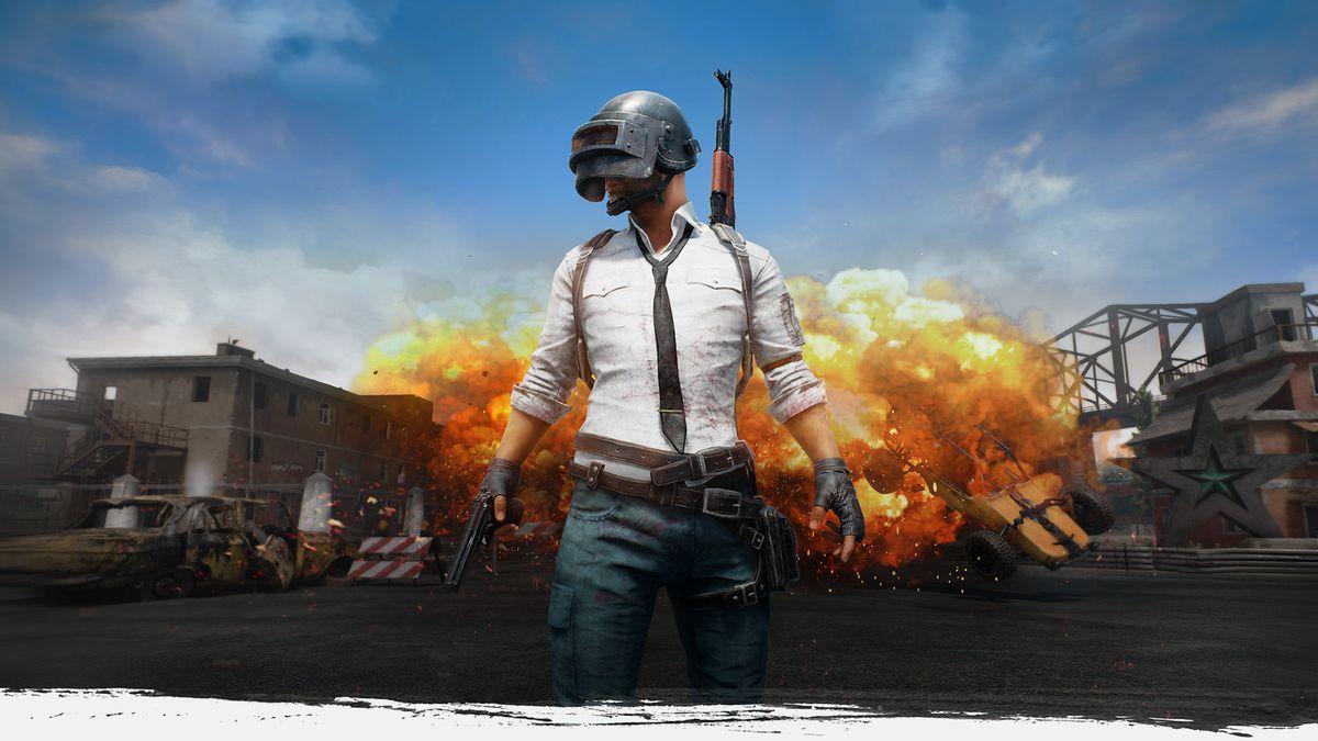 Battlegrounds de PlayerUnknown - art de l'homme au casque debout devant une explosion