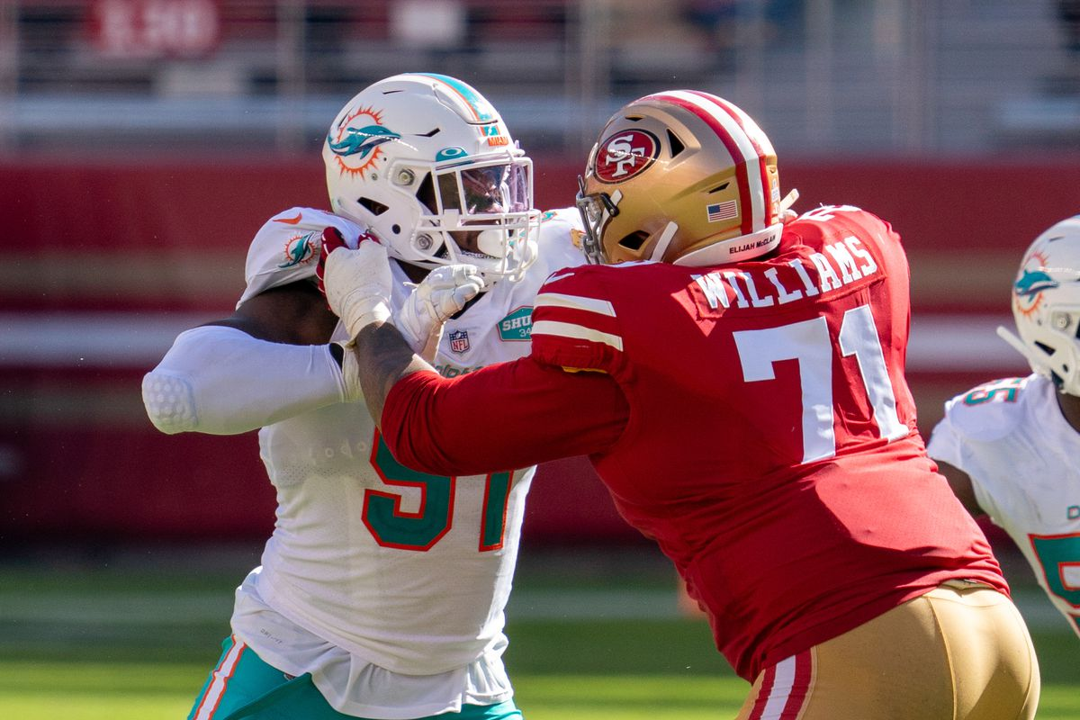 Miami Dolphins defensive end Emmanuel Ogbah (91) against San Francisco 49ers offensive tackle Trent Williams (71) during the third quarter at Levi's Stadium.