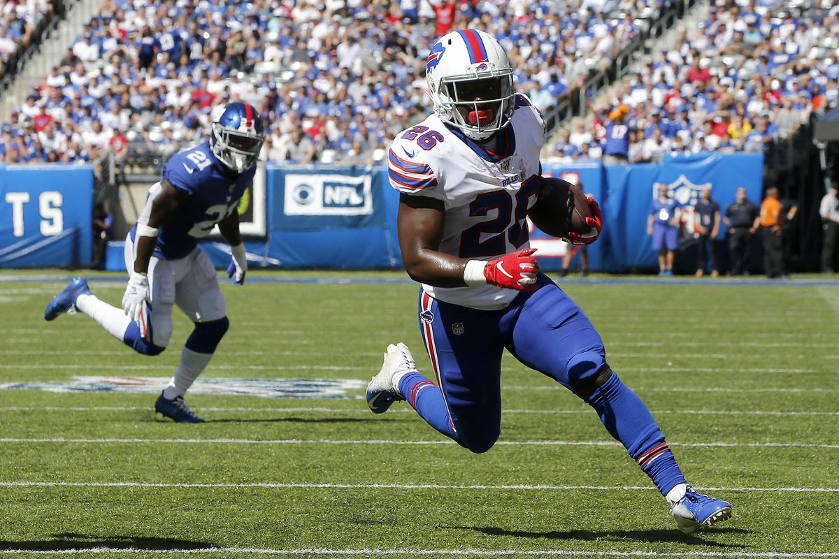 Devin Singletary of the Buffalo Bills in action against the New York Giants at MetLife Stadium on September 15, 2019 in East Rutherford, New Jersey.