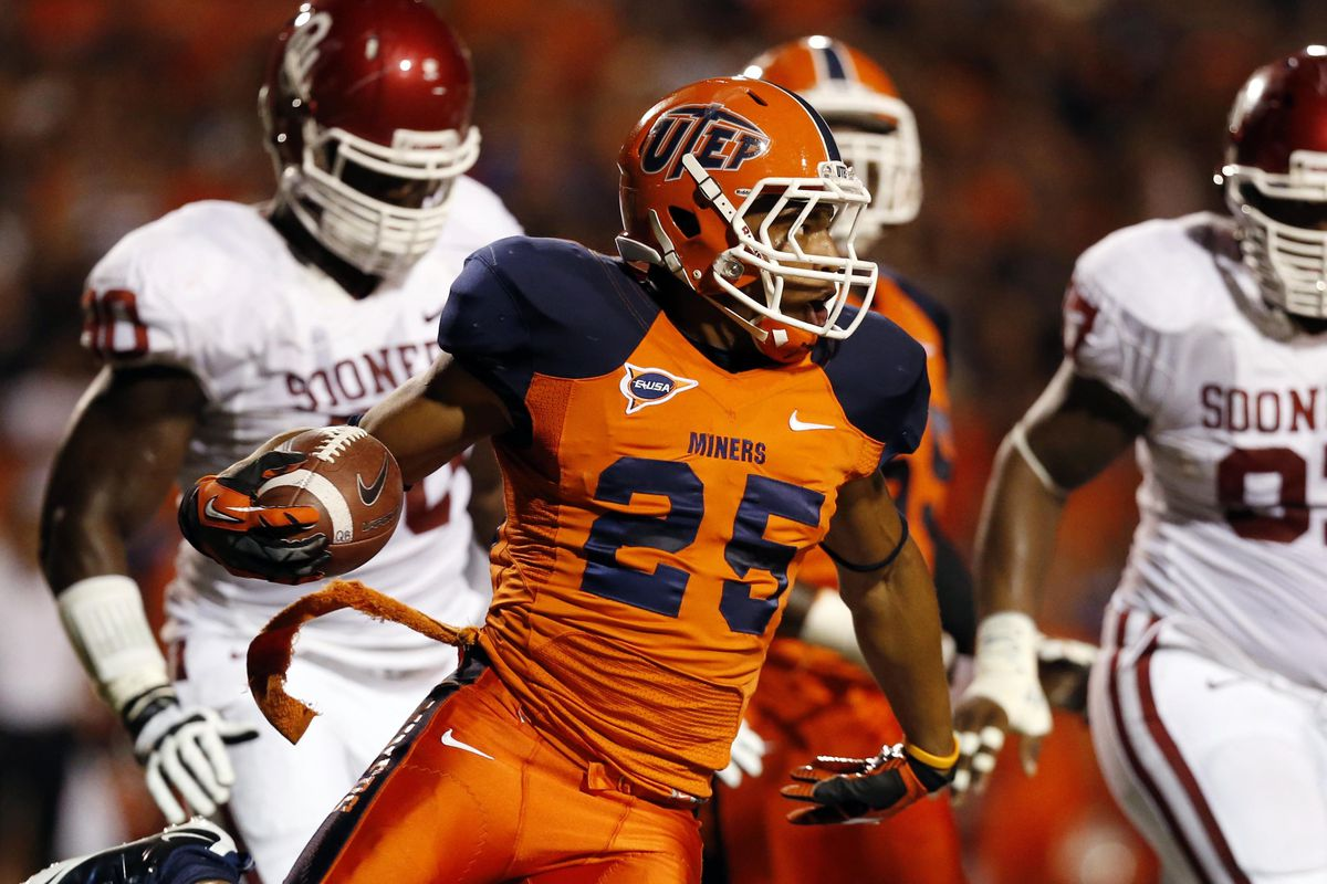 September 1, 2012; Dallas, TX, USA; UTEP Miners running back Nathan Jeffery (25) runs after a catch against the Oklahoma Sooners in the first quarter at Sun Bowl Stadium. Mandatory Credit: Jim Cowsert-US PRESSWIRE