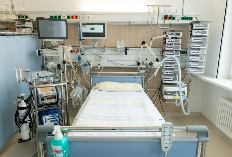 A bed in an intensive care unit at a hospital
