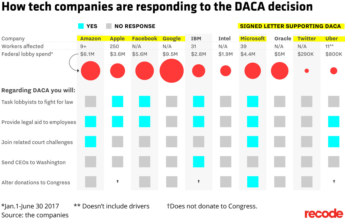 Report card: how tech companies are responding to DACA