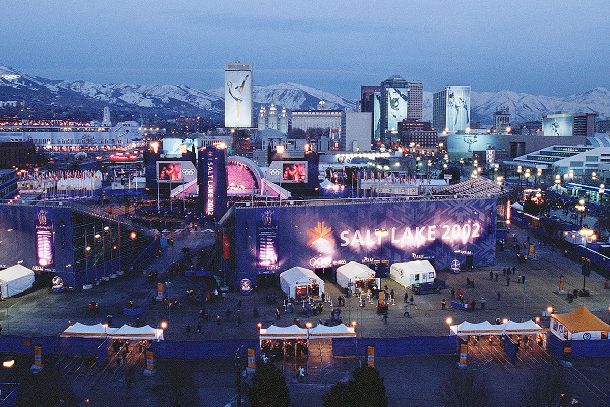 FILE - Salt Lake City skyline during the 2002 Olympics as seen from KSL.