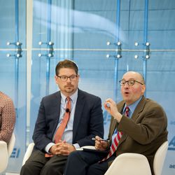 """Christopher Karpowitz, Brigham Young University (right) responds to questions during the """"Fifth Annual American Family Survey: Myths about families, plus what Americans really think about paid family leave"""" panel discussion at the American Enterprise Institute in Washington, DC, Thursday, September 12, 2019."""