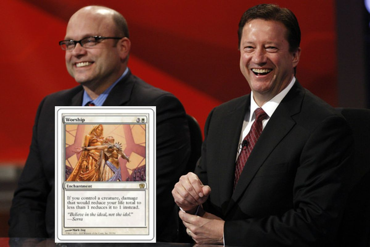 """""""No, Steve. I'm not trading you the card with the girls on it."""""""