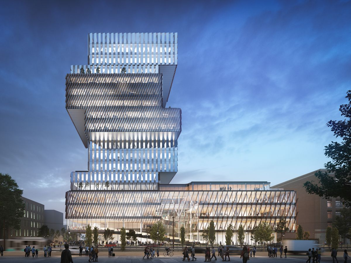 A 19-story building that looks like a stack of books.