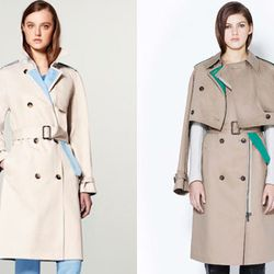 """Trench coat with a pop. Right: Trench coat, <a href=""""http://www.31philliplim.com/shop/products/layered-two-piece-trench-coat"""">$950</a> at 3.1 Phillip Lim"""