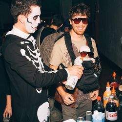 A skeleton feeding vodka to the baby from <i>The Hangover</i>. Only at our party.