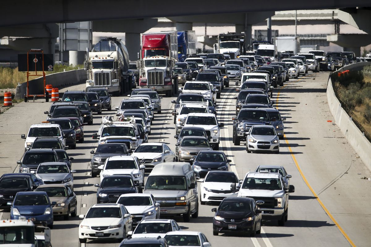 Traffic packs southbound I-15 during rush hour at West 2700 South Street in South Salt Lake on Friday, Aug. 2, 2019.Fans heading to Thursday's BYU-Utah football game at LaVell Edwards Stadium should have a game plan when it comes to dealing with traffic.