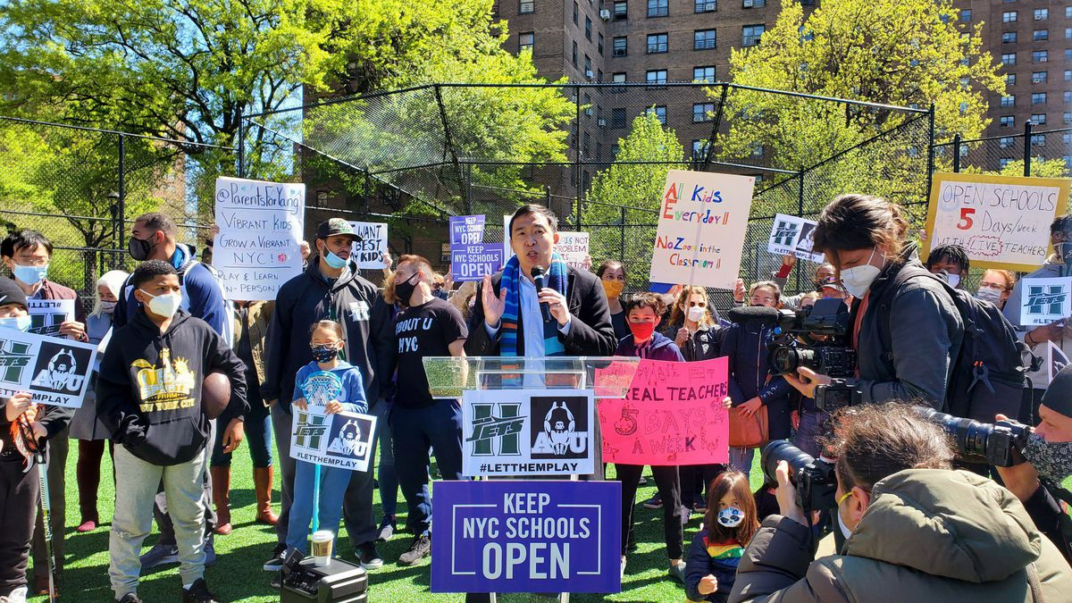 Andrew Yang speaks at a Keep NYC Schools Open rally, May 1, 2021.
