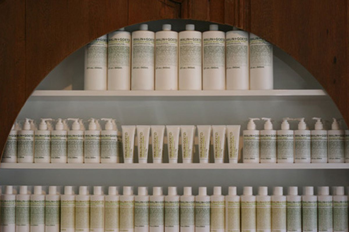 """Wall of Malin + Goetz products via <a href=""""http://www.flickr.com/photos/31418704@N02/3727165086/in/pool-rackedny"""">cherrypatter</a>/Racked Flickr pool"""