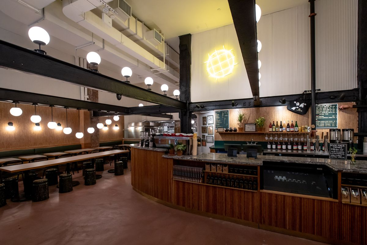 The counter at Bourke Street Bakery with hanging lights