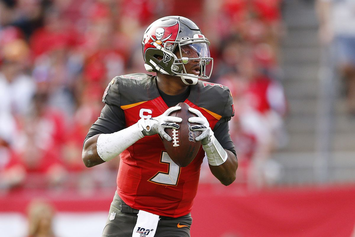 Jameis Winston #3 of the Tampa Bay Buccaneers in action against the Atlanta Falcons at Raymond James Stadium on December 29, 2019 in Tampa, Florida.