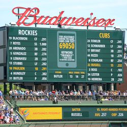 1:51 p.m. Example of the right field video board during the game -