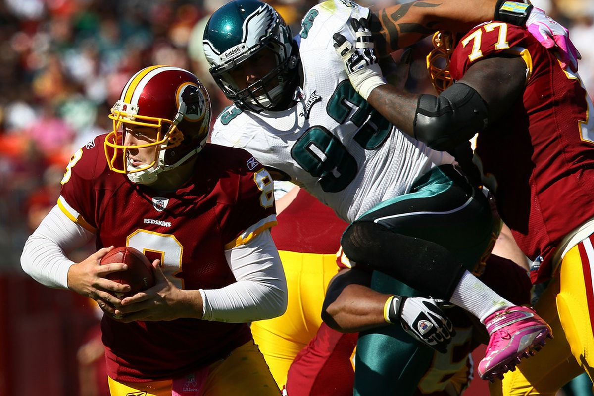 The Redskins will have to hold and cheat their way to protect Rex Grossman from Jason Babin and the Eagles on Sunday.