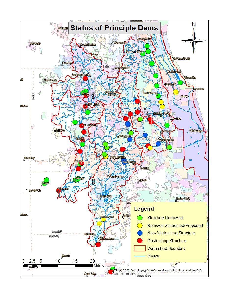 Status of dams in northeastern Illinois in early 2020. Provided by IDNR and DuPage River Salt Creek Workgroup