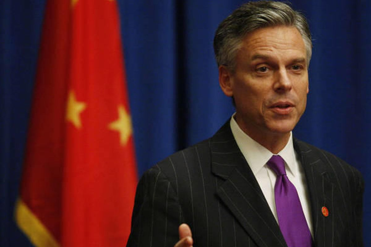 U.S. Ambassador to China Jon Huntsman briefs reporters on President Barack Obama's visit to China and meeting with Chinese President Hu Jintao in Beijing, Tuesday, Nov. 17, 2009.