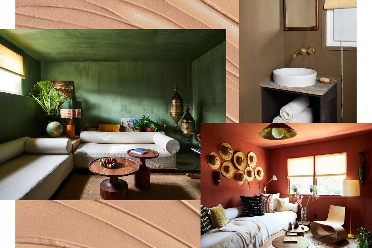 A collage of images of a sitting room with green walls and ceiling, hanging brass lamps, turned-wood tables, and white linen sofas; a bedroom with terra-cotta walls and ceilings, straw hats hanging on the wall, a bentwood chair, and linen daybed.