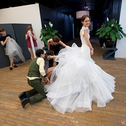 How much tulle does it take to make Coco Rocha's bottom half huge? A whole big bunch. Zac Posen is all over it..
