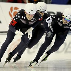 USA's Mia Kilburg-Manganello, left, Paige Schwartzburg and Briana Bocox compete in the team pursuit at the ISU World Single Distances Speed Skating Championships at the Utah Olympic Oval in Kearns on Friday, Feb. 14, 2020.