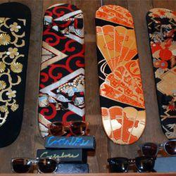 Vintage kimono-wrapped skateboards by Zillion
