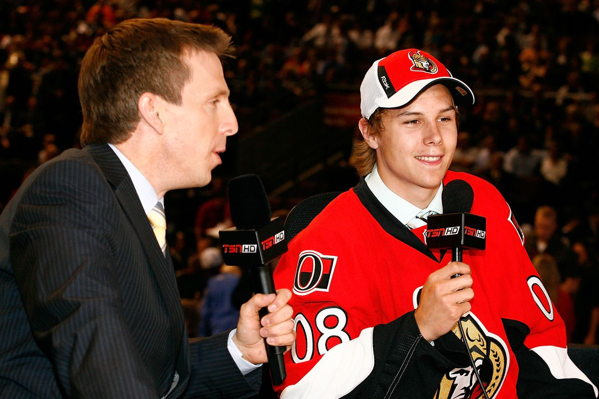 OTTAWA, ON - JUNE 20: 15th overall pick, Erik Karlsson of the Ottawa Senators talks with the media during the 2008 NHL Entry Draft at Scotiabank Place on June 20, 2008 in Ottawa, Ontario, Canada.