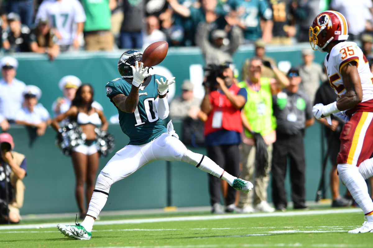 Philadelphia Eagles Wide Receiver DeSean Jackson hauls in a touchdown reception in the second half during the game between the Washington Redskins and Philadelphia Eagles on September 08, 2019 at Lincoln Financial Field in Philadelphia, PA.