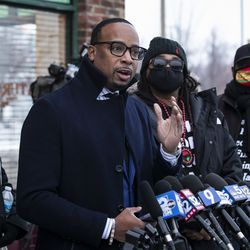 Jacob Blake's family attorney B'Ivory LaMarr speaks to reporters after Kenosha County District Attorney Michael Graveley announced that no charges will be filed against the Kenosha police officer who shot Blake, Tuesday evening, Jan. 5, 2021.