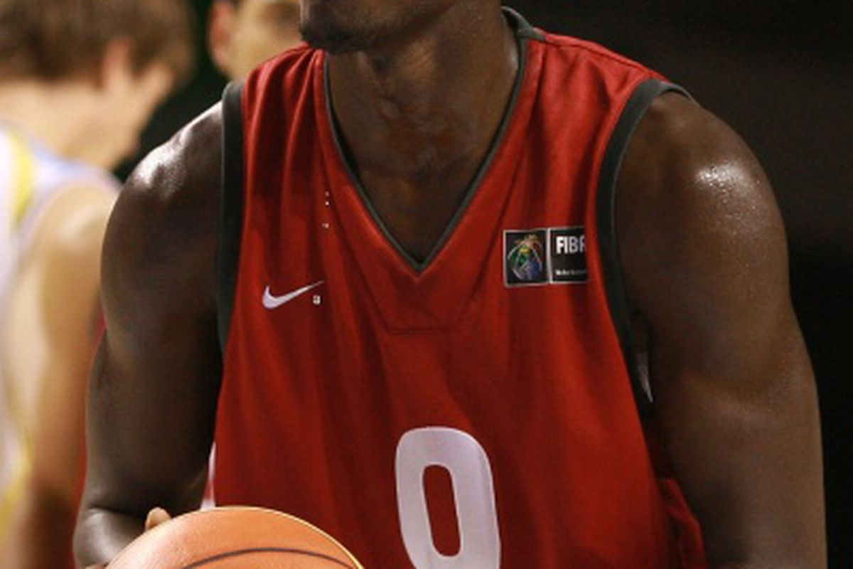 Mangisto Arop sets up for a free throw against Argentina. Manny scored 18 points to lead Canada to the huge victory, and a spot in the quarterfinals of the FIBA U-19 World Championships.