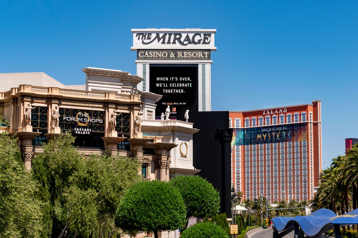 The Mirage marquee in April 2020.
